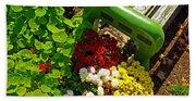 Flowers By Green Bench Beach Sheet