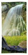 Flowers By The Falls Beach Towel