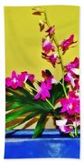Flowers In A Blue Dish - Japanese House Beach Towel