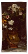 Flowers In A Vase And A Glass Of Champagne Beach Towel