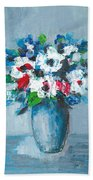 Flowers In Blue Vase Beach Towel