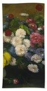Flowers In Three Vases 1879 Beach Towel