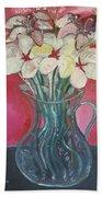 Flowers Inside Glass Pitcher Beach Towel
