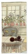 Flowers On The Windowsill Beach Towel by Carl Larsson