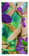 Flowers Purple Beach Towel