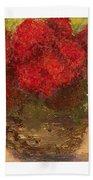 Flowers Red Beach Towel