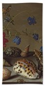 Flowers, Shells And Insects On A Stone Ledge Beach Towel