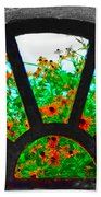 Flowers Through Basement Window At Monticello Beach Towel