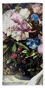 Flowers With A Bird Beach Towel