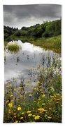 Flowery Lake Beach Towel by Carlos Caetano