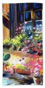 Flowery Window Of France Beach Towel