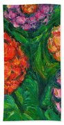 Flowing Zinnias Beach Towel