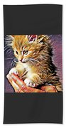 Fluffy Orange Kitten Beach Towel