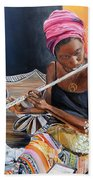 Flute Player Beach Towel