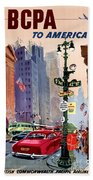 Fly Bcpa To America Vintage Poster Restored Beach Towel