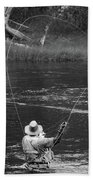 Fly Fishing In Black And White Beach Towel