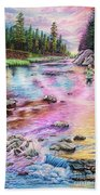 Fly Fishing In River At Sunrise Beach Towel