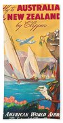 Fly To Australia And New Zealand, Airline Poster Beach Towel