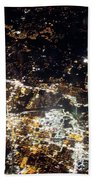 Flying At Night Over Cities Below Beach Towel