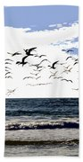 Flying Gulls Beach Towel