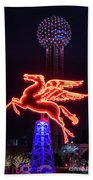 Flying Pegasus And Reunion Tower Night Beach Towel