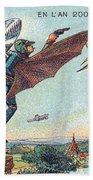 Flying Policemen, 1900s French Postcard Beach Towel