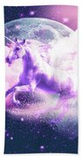 Flying Space Galaxy Unicorn Beach Sheet