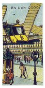 Flying Taxicabs, 1900s French Postcard Beach Towel