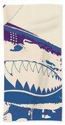 Flying Tiger Blue Purple  Beach Towel
