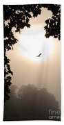 Foggy Heron Flight Beach Towel