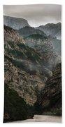 Foggy Mountains Over Neretva Gorge Beach Towel