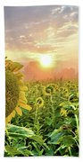 Foggy Yellow Fields 3 Beach Towel