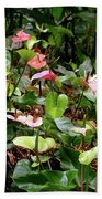 Foliage And Flowers Beach Towel