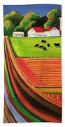 Folk Art Farm Beach Towel