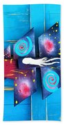 Folk Art Galactic Space Fish Beach Sheet
