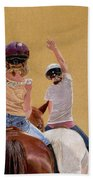 Follow The Leader - Horseback Riding Lesson Painting Beach Towel