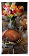 Food - Easter Dinner Beach Towel by Mike Savad