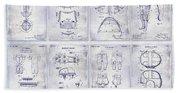 Football Patent History Blueprint Beach Towel