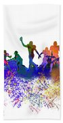 Football Players Skyline Beach Towel