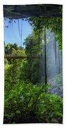 Footbridge And Crystal Falls  In The Rainforest Of Dorrigo In Australia Beach Towel