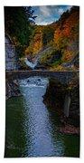 Footbridge At Lower Falls Beach Towel by Rick Berk
