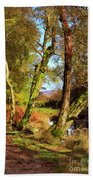 Footpath At The Edge Of Lantys Tarn In The Lake District Cumbria Beach Towel