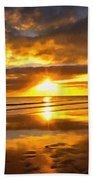 Footsteps  Beneath The Sunset I  Beach Towel