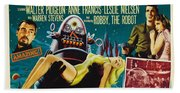 Forbidden Planet In Cinemascope Retro Classic Movie Poster Beach Towel