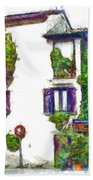 Foreshortening Of House Covered With Climbing Plants Beach Sheet