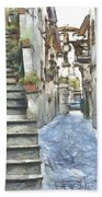 Foreshortening With Stairs Beach Towel