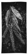 Forest Botanicals In Black And White Beach Towel