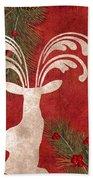 Forest Holiday Christmas Deer Beach Towel