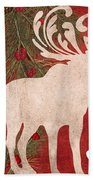 Forest Holiday Christmas Moose Beach Towel