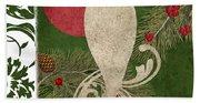 Forest Holiday Christmas Owl Beach Towel